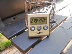 Internal thermometer set to 250 degrees