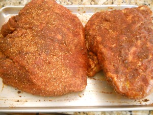 liberally added dry rub to each (2)