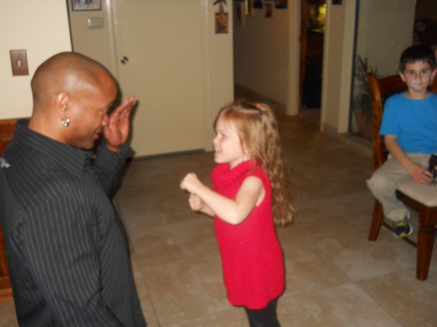 Ash taking boxing lesson from uncle AJ (1)