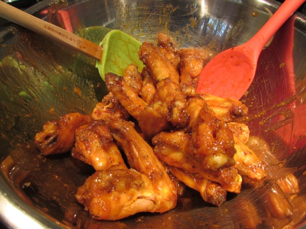 add wings to bowl and toss with sauce (6)