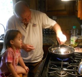 Ashton and Grandpa Bear making popcorn..another favorite thing!
