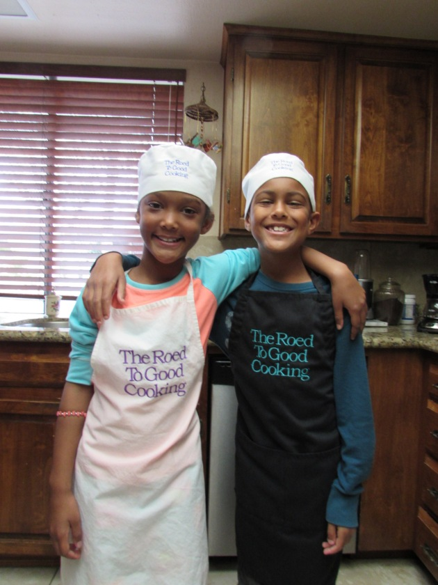 The best little sous chefs ever. My grandson Urijah on the left and my granddaughter Kai on the right.