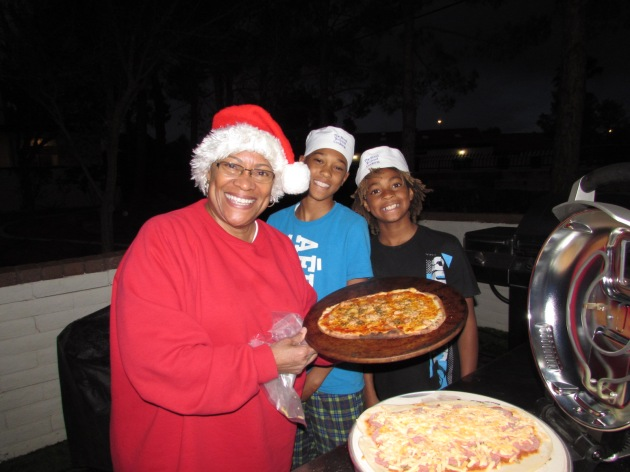 Saturday evening me an my older grandsons; Dom and Isaiah made homemade pizzas for everyone.